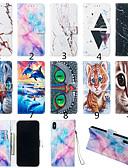 זול מגנים לטלפון-מגן עבור מוטורולה מוטו G7 / מוטו G7 פלוס / מוטו G7 שחק ארנק / מחזיק כרטיסים / עם מעמד כיסוי מלא חתול / חיה / שיש קשיח עור PU