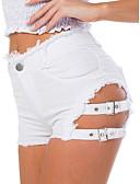 economico Gonne da donna-Per donna Moda città Pantaloncini Pantaloni - Tinta unita Strappato Cotone Blu Bianco Nero M L XL / Vita alta