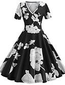 povoljno Vintage kraljica-Žene Vintage A kroj Haljina - Kolaž Print, Cvjetni print Do koljena