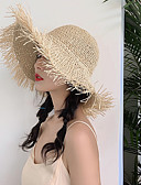 hesapli Tişört-Kadın's Actif Temel sevimli Stil Hasır Hasır Şapka Zıt Renkli Tüm Mevsimler Siyah Bej Haki