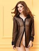 hesapli Seksi Organlar-Sexy Mini ve Abiye Yatak kıyafeti - Dantel, Solid Kadın's / Gömlek Yaka