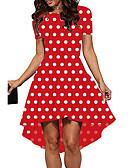 hesapli Mini Elbiseler-Kadın's Temel A Şekilli Elbise - Yuvarlak Noktalı, Desen Asimetrik