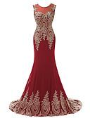 cheap Evening Dresses-Mermaid / Trumpet Jewel Neck Sweep / Brush Train Chiffon Formal Evening Dress with Appliques by JUDY&JULIA