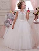 זול שמלות לילדות פרחים-נסיכה מקסי שמלה לנערת הפרחים  - כותנה / תחרה / טול ללא שרוולים מקורזל עם אפליקציות / תחרה / קריסטלים / אבנים נוצצות על ידי LAN TING Express