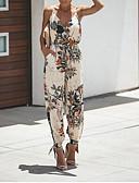 cheap Women's Jumpsuits & Rompers-Women's Vacation Deep V Black Beige Wine Jumpsuit, Floral Print M L XL Cotton Summer
