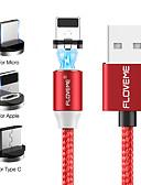 זול כבל & מטענים iPhone-floveme 2m / 6.5ft / 1 עד 3 iPhone מיקרו סוג- c כבל מגנטי כבל USB קלועה עם מחוון LED עבור iPhone / Samsung / huawei / xiaomi / sony / htc / מוטורול