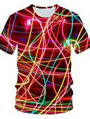 halpa Miesten t-paidat ja hihattomat paidat-Miesten Painettu Color Block / 3D / Kuvitettu Katutyyli / Liioiteltu T-paita Rubiini XXL