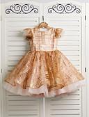 זול שמלות לילדות פרחים-נסיכה באורך  הברך שמלה לנערת הפרחים - טול רצועות עם תכשיטים עם פפיון(ים) על ידי LAN TING BRIDE®