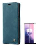 Недорогие Чехлы для телефонов-Кейс для Назначение OnePlus Один плюс 7 / One Plus 7 Pro Бумажник для карт / Защита от удара / Матовое Чехол Однотонный Твердый Кожа PU