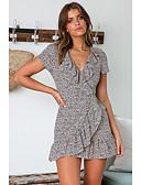 hesapli Mini Elbiseler-Kadın's Temel Zarif Kılıf Kayakçı Elbise - Yuvarlak Noktalı Leopar, Fırfırlı Diz üstü