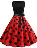 hesapli Vintage Kraliçesi-Kadın's Vintage A Şekilli Elbise - Geometrik, Kırk Yama Desen Diz-boyu