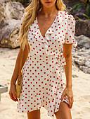 hesapli Print Dresses-Kadın's Sokak Şıklığı Kılıf Elbise - Yuvarlak Noktalı, Fırfırlı Kırk Yama Diz üstü