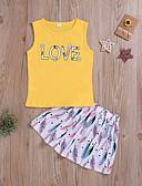 זול סטים של ביגוד לתינוקות-סט של בגדים ללא שרוולים אחיד / דפוס בנות תִינוֹק