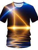"""זול טישרטים לגופיות לגברים-קולור בלוק / 3D / גראפי צווארון עגול סגנון רחוב / מוּגזָם מועדונים האיחוד האירופי / ארה""""ב גודל טישרט - בגדי ריקוד גברים דפוס כחול ים / שרוולים קצרים"""