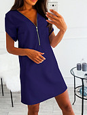 hesapli Mini Elbiseler-Kadın's A Şekilli Elbise Derin V Diz üstü