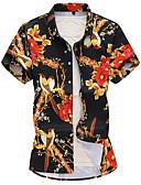 זול חולצות פולו לגברים-פרחוני בסיסי חולצה - בגדי ריקוד גברים שחור XXXXL