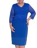 זול שמלות במידות גדולות-עד הברך אחיד - שמלה נדן בסיסי בגדי ריקוד נשים