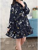 povoljno Haljine za djevojčice-Djeca Djevojčice Slatka Style Cvjetni print Dugih rukava Do koljena Haljina Obala / Pamuk