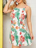 olcso Női ruhák-Női Alap A-vonalú Ruha - Kollázs, Virágos Térd feletti