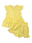 זול חלקים תחתונים לתינוקות-סט של בגדים כותנה ללא שרוולים קפלים אחיד פעיל / בסיסי בנות תִינוֹק / פעוטות