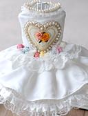 זול טוקסידו-חליפת ערב בגדים לכלבים פנינה תחרה נסיכות לבן סיבים אקריליים תחפושות עבור אביב קיץ שמלות וחצאיות פנינים