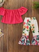 זול סטים של ביגוד לתינוקות-סט של בגדים שרוולים קצרים פרחוני בנות תִינוֹק