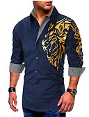 """זול חולצות לגברים-גראפי בסיסי האיחוד האירופי / ארה""""ב גודל כותנה, חולצה - בגדי ריקוד גברים דפוס שחור / שרוול ארוך"""