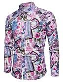 זול חולצות לגברים-קולור בלוק / גראפי צווארון קלאסי בסיסי מועדונים חולצה - בגדי ריקוד גברים דפוס פול / שרוול ארוך