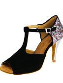 זול תחתוני נשים-בגדי ריקוד נשים נעלי ריקוד ניילון נעליים לטיניות נצנוץ עקבים סלים גבוהה עקב מותאם אישית שחור / הצגה / עור