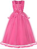 זול שמלות לילדות פרחים-נסיכה עד הריצפה שמלה לנערת הפרחים  - כותנה / טול ללא שרוולים צווארון מרובע עם פרטים מקריסטל על ידי LAN TING Express