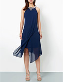 cheap Cocktail Dresses-Casual Dress A-Line Halter Neck Asymmetrical Chiffon Dress with Appliques by LAN TING Express