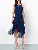 preiswerte Cocktailkleider-A-Linie Halter Asymmetrisch Chiffon Kleid mit Applikationen durch LAN TING Express