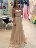 זול שמלות ערב-גזרת A עם תכשיטים שובל סוויפ \ בראש שיפון ערב רישמי שמלה עם פרטים מקריסטל על ידי LAN TING Express