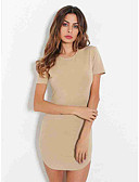 cheap Women's Dresses-Women's Basic Bodycon Dress - Solid Colored White Black Khaki S M L