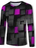 זול טישרטים לגופיות לגברים-גיאומטרי / קולור בלוק / 3D צווארון עגול בסיסי / סגנון רחוב טישרט - בגדי ריקוד גברים דפוס קשת / שרוול ארוך