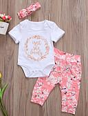 זול סטים של ביגוד לתינוקות-סט של בגדים שרוולים קצרים פרחוני / דפוס בנות תִינוֹק