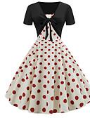 povoljno Vintage kraljica-Žene Osnovni Swing kroj Haljina - Print, Na točkice Do koljena