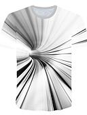 halpa Miesten t-paidat ja hihattomat paidat-Miesten Pyöreä kaula-aukko Painettu 3D T-paita Valkoinen / Lyhythihainen
