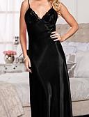 זול חלוקים & Sleepwear-בגדי ריקוד נשים סקסית קומביניזונים וכותנות / סטן ומשי Nightwear תחרה, אחיד שחור לבן פוקסיה S M L