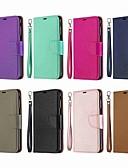 Недорогие Чехлы для телефонов-Кейс для Назначение SSamsung Galaxy J6 (2018) / J4 (2018) / Galaxy J4 Plus (2018) Кошелек / Бумажник для карт / со стендом Чехол Однотонный Твердый Кожа PU