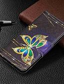 Недорогие Чехлы для телефонов-Кейс для Назначение SSamsung Galaxy Galaxy A7(2018) / Galaxy A10 (2019) / Galaxy A30 (2019) Кошелек / Бумажник для карт / со стендом Чехол Бабочка Твердый Кожа PU