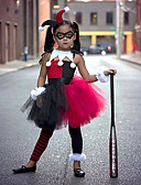 זול שמלות לבנות-שמלה עד הברך ללא שרוולים גב חשוף / רשת / טלאים טלאים שחור ואדום פעיל / סגנון חמוד בנות ילדים / פעוטות