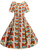 povoljno Vintage kraljica-Žene Vintage A kroj Haljina - Mašna Kolaž Print, Cvjetni print Do koljena