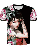 halpa T-paita-Miesten Pyöreä kaula-aukko Painettu 3D Pluskoko - T-paita Musta / Lyhythihainen