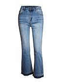 hesapli Tişört-Kadın's Sokak Şıklığı Salaş Bot Kesim Pantolon - Solid Mavi, Klasik Yüksek Bel Pamuklu Havuz XL XXL XXXL