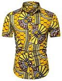 """זול חולצות לגברים-גראפי / להסוות / שבטי צווארון קלאסי פאנק & גותיות מועדונים האיחוד האירופי / ארה""""ב גודל כותנה, חולצה - בגדי ריקוד גברים דפוס צהוב / שרוולים קצרים"""