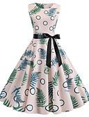 halpa Vintage-kuningatar-Naisten Vintage A-linja Mekko - Polka Dot Kukka, Patchwork Painettu Polvipituinen