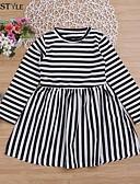 זול שמלות לבנות-שמלה עד הברך שרוול ארוך טלאים פסים פעיל / בסיסי בנות ילדים / פעוטות / כותנה