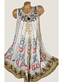 זול שמלות מודפסות-מעל הברך טלאים דפוס, קשירה וצביעה - שמלה טישרט בסיסי בגדי ריקוד נשים