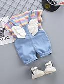 זול שמלות לתינוקות-סט של בגדים שרוולים קצרים פסים / קשת בנות תִינוֹק